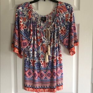 Bobeau peasant blouse with tassels  size M.